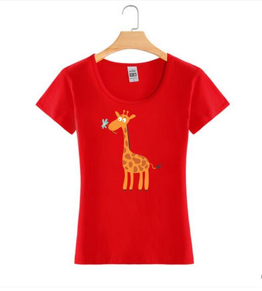 Giraffe Printing Fashion Custom Cotton Wholesale Girl Tee T Shirt