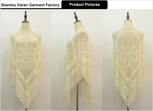 Women Oversized White Flora Crochet Poncho Sweater
