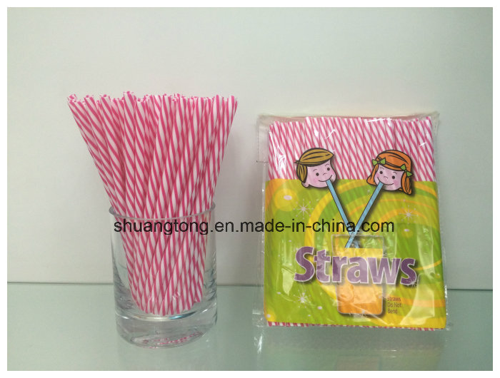 Plastic Tableware Spiral Duoble Colors Striped Hard Straight Straw