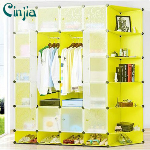 Saving Place Shoe Plastic Storage and Cloth Wardrobe with Bookrack
