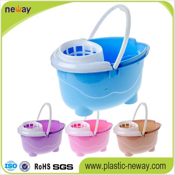 Squeeze Plastic Mop Bucket with Wheels