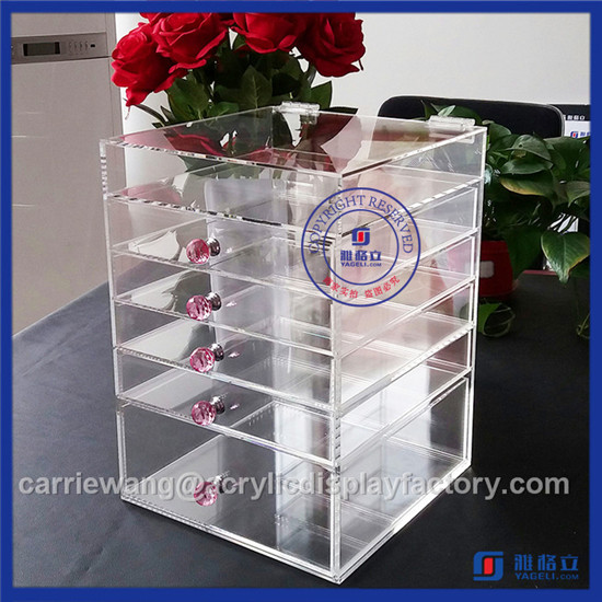 China Supplier Hot Sale Black Acrylic 3 Drawers / Acrylic Maup Organizer with Crystal Knobs