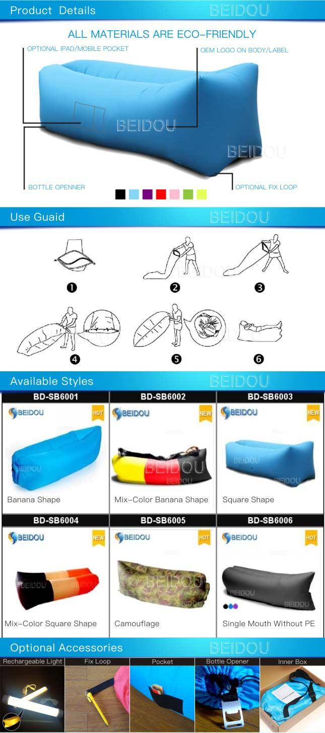 Popular Nylon Hammock Single Mouth Inflatable Air Sofa Sleeping Bed
