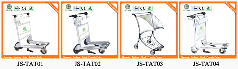 Plastic Handle Stainless Steel Airport Baggage Trolley with Auto Brake