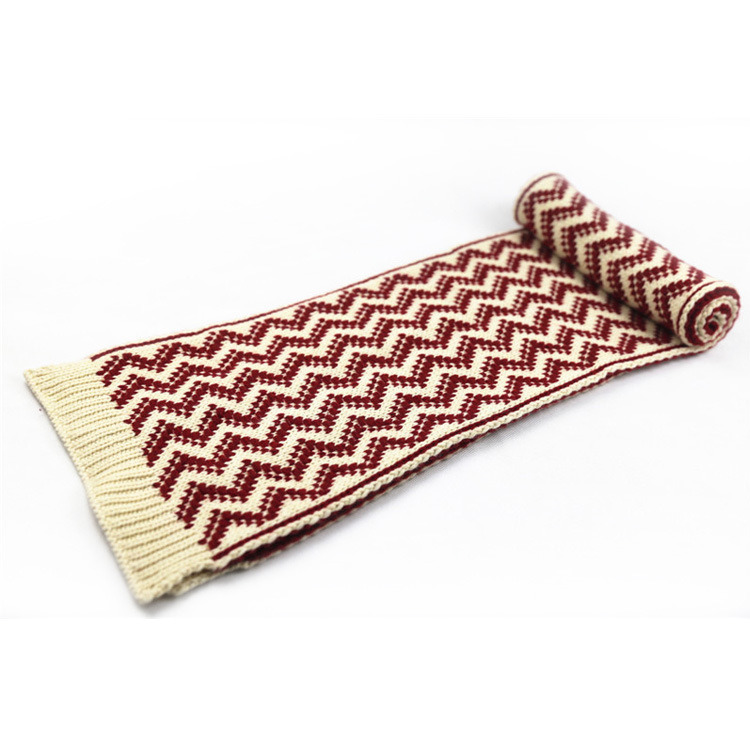 Unisex Winter Warm Color Mixed Wave Printing Heavy Knitted Scarf (SK168)