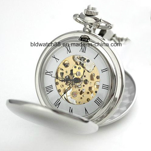 Hot Sale Mechanical Skeleton Pocket Watch with Chain