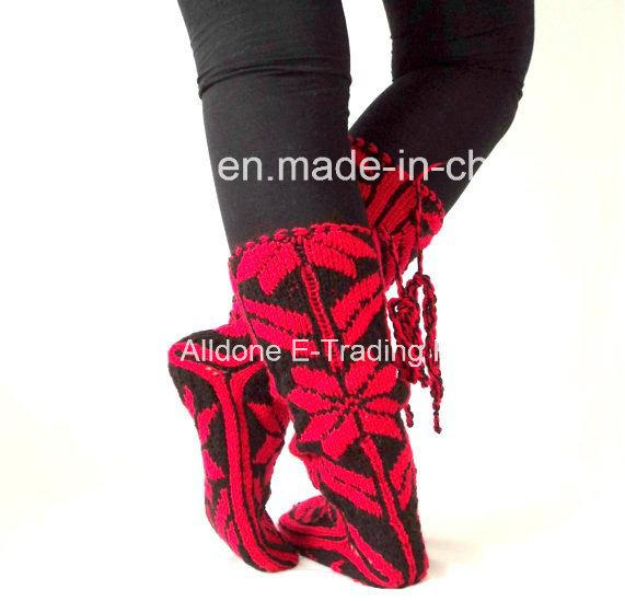 Custom New Design Hand Knit Ladies Angora Knee High Socks