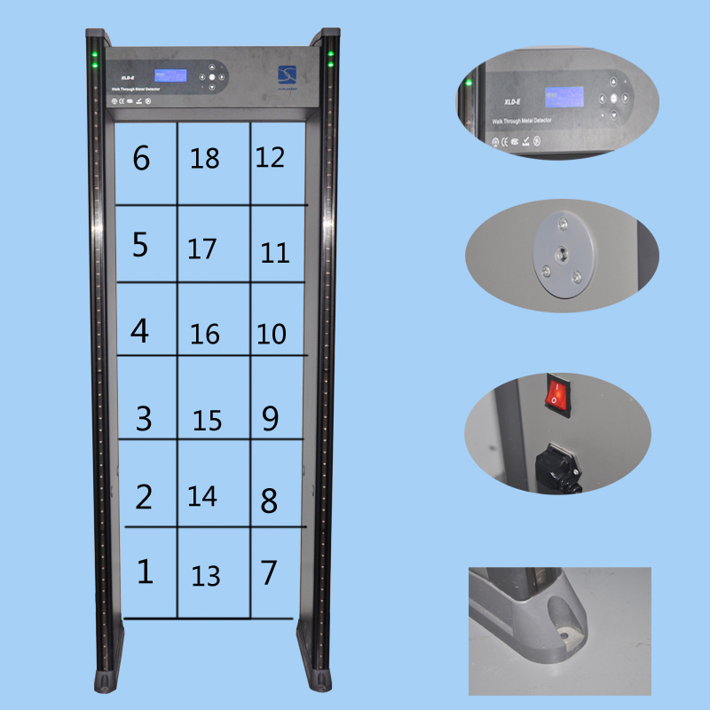 Economical 6 Zones Synthetic Material Walkthrough Metal Detector with LED Display