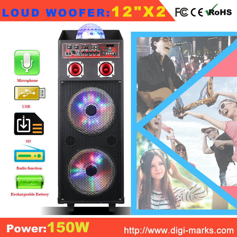 Hot Sale Karaoke Portable Plastic Active Speaker with Bluetooth, FM