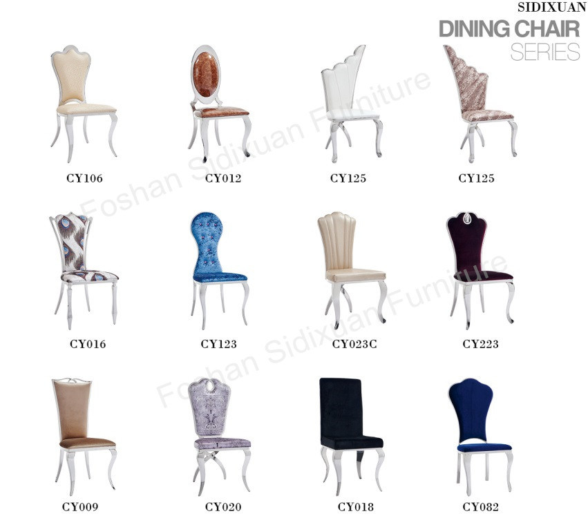 Modern Hotel Stainless Steel Dining Room White Wedding Banquet Chair