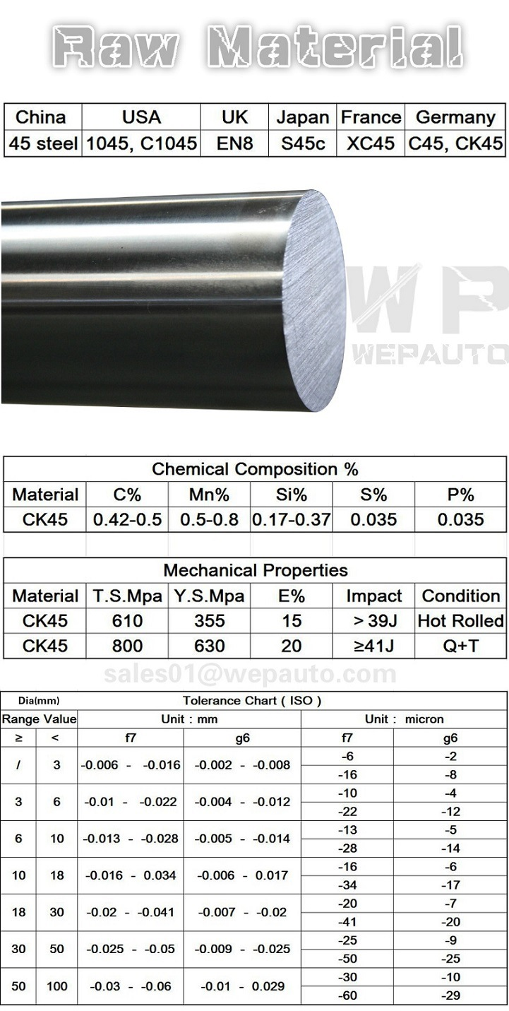 Ck45 Hard Chrome Plated Piston Rod for Hydraulic Cylinder