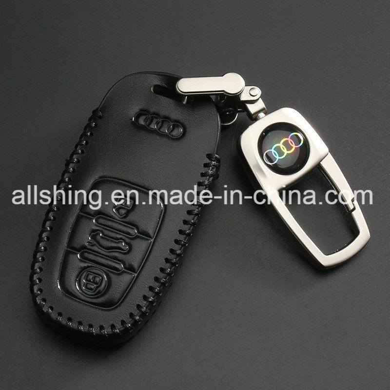 Leather Car Key Chain Coin Holder Remote Bag for Audi