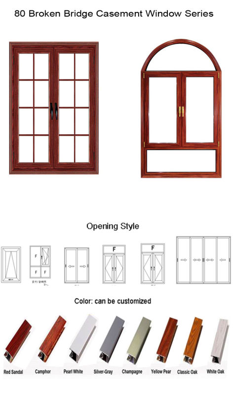 Feelingtop Aluminum Broken Bridge Tilt and Turn Aluminum Casement Window (FT-W80)