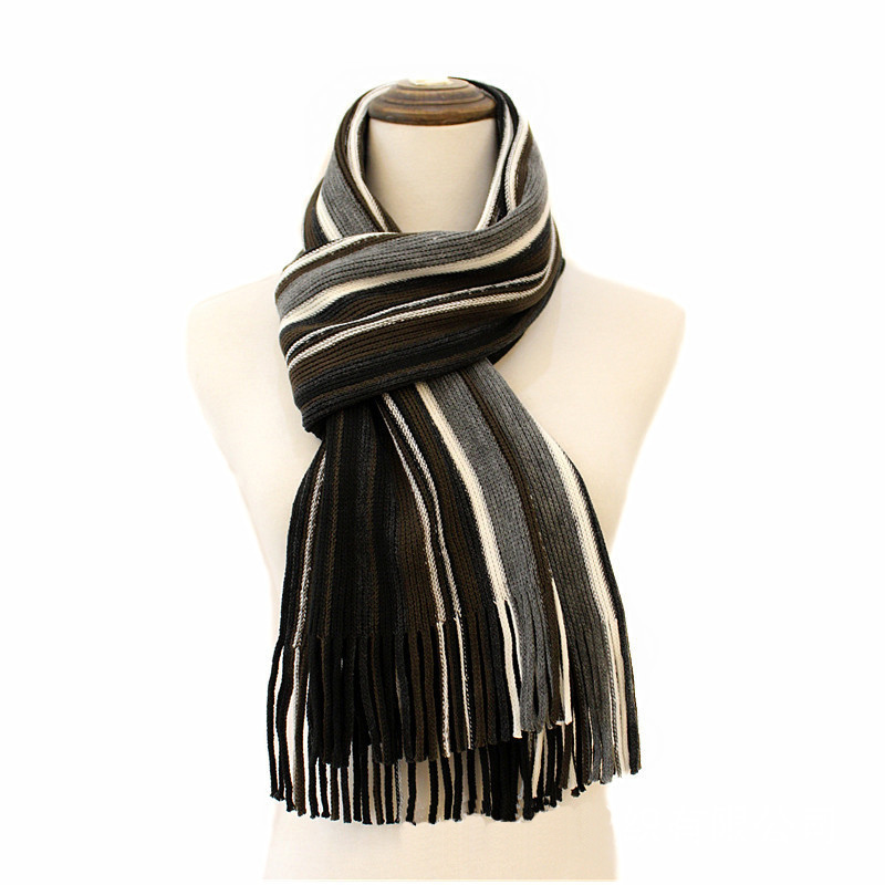 Mens Womens Unisex Knitted Stripe Autumn Winter Warm Scarf (SK806)