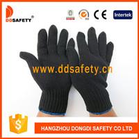 7gauge 4 Yarns Black Cotton Polyester Gloves Dck904