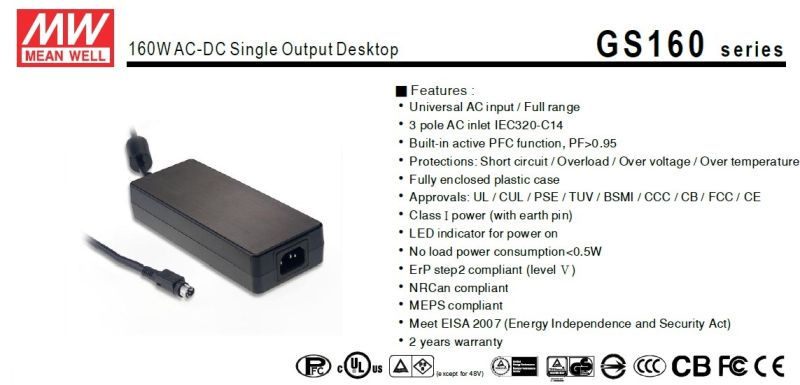 Mean Well 160W AC-DC Desktop Power Supply