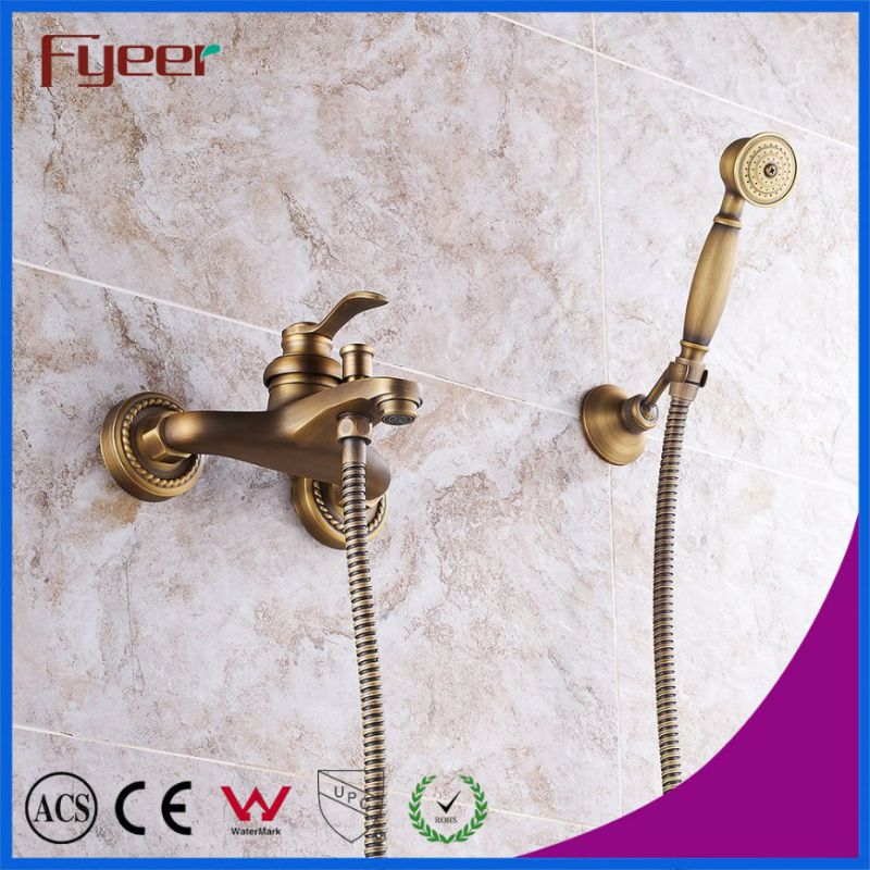 Fyeer Solid Copper Wall Mounted Antique Bath Shower Faucet
