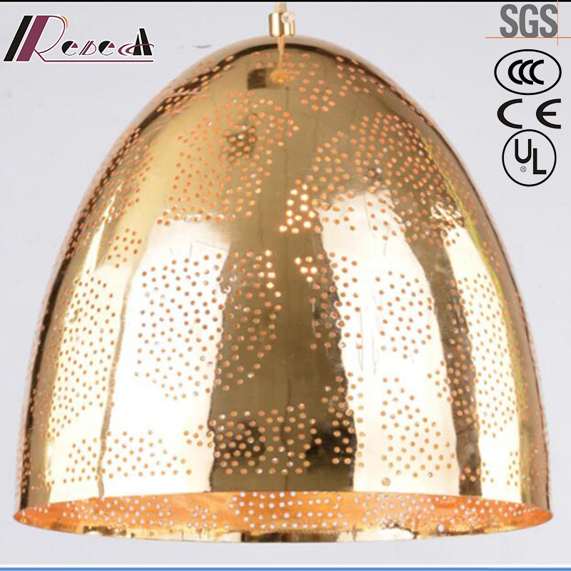 Simple Golden Hollow Round Pendant Light with Dining Room