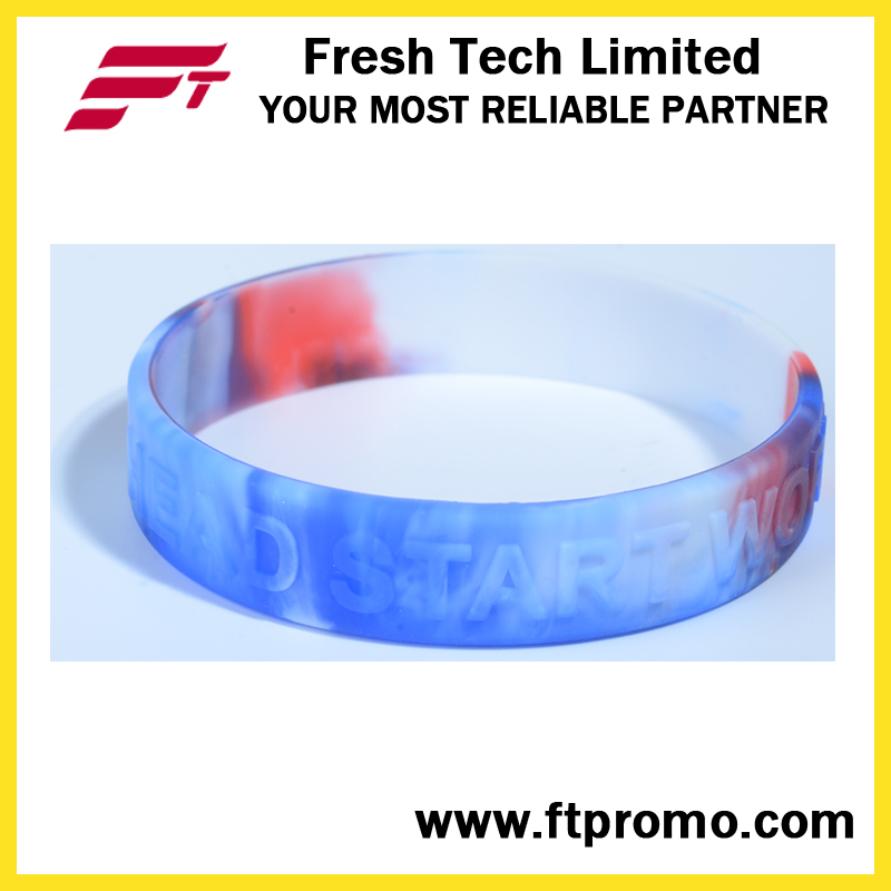 Eco-Friendly Wholesale Silicone Wristband for Logo Embossed