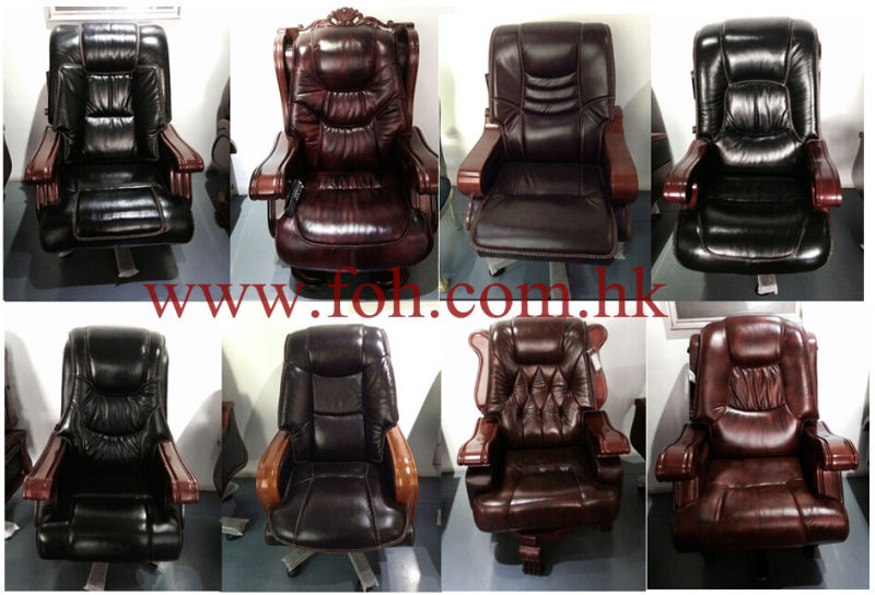 Office Furniture Italian Leather Swivel Wooden Armrest Chair/Managing Director Chair/CEO Boss Chair