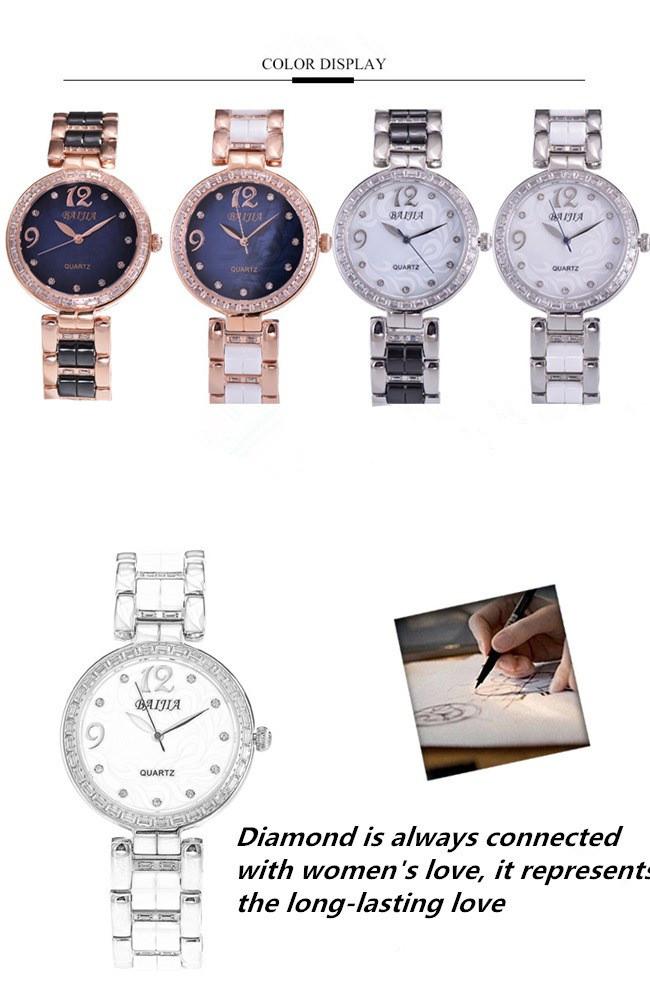 Baijia Pearl Face Diamond Ceramic Ladies Quarts Watch