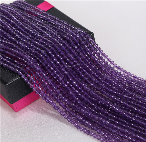 Natural Loose Strands Amethyst Loose Beads Size 2mm 3mm Diamond Shaped Crystal Beads