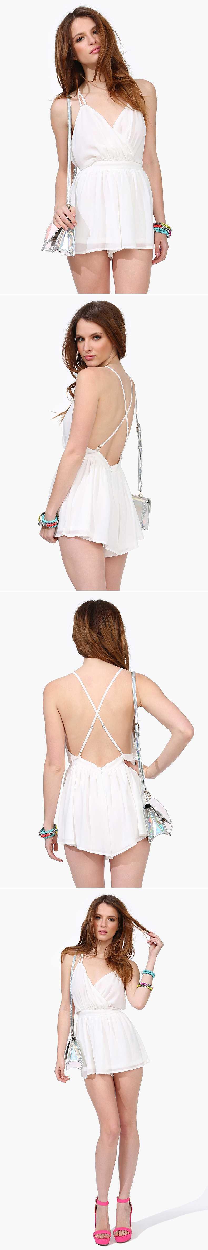 2015 Plus Size Fashion White Backless Women Chiffon Jumpsuit