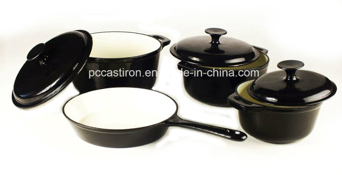 4PCS Cast Iron Cookware Set in Red Color with Enamel Finish