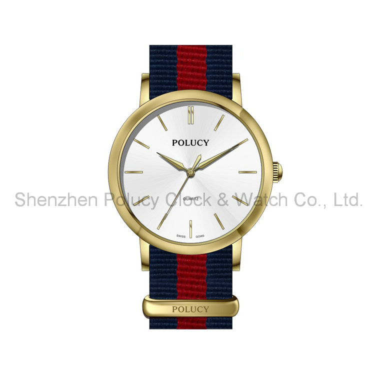 Women Colorful Leather Nylon Strap Man Wrist Watch Fashion Clock China Wholesale