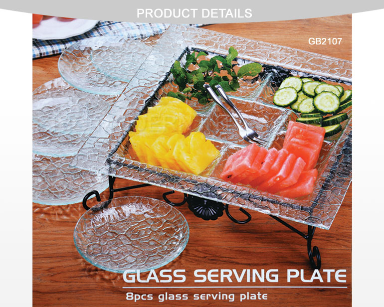 Glass Serving Plate/8PCS Glass Separated Plates