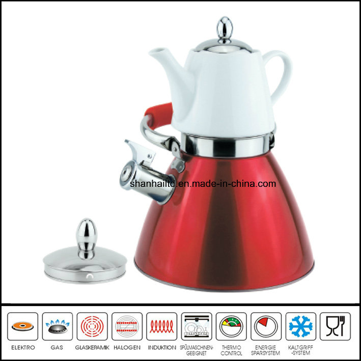 Double Whistle Kettle with Ceramic Tea Pot Multi-Functional Kettle