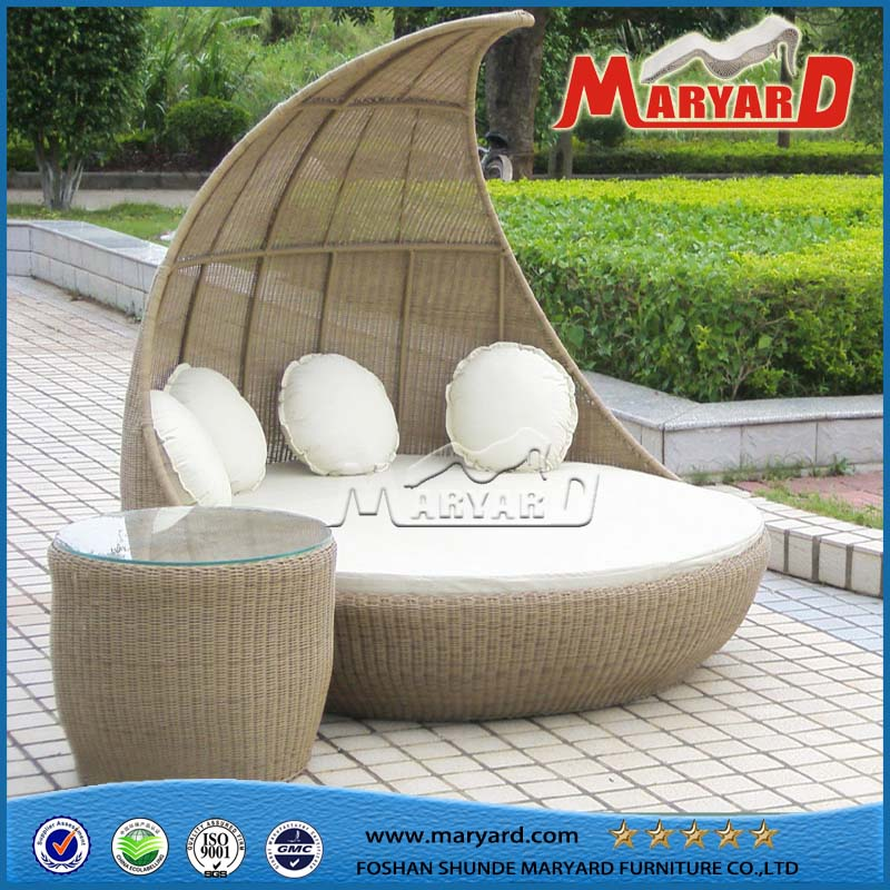 2016 Comfortable Garden Wicker Sun Lounger Round Sofa Bed