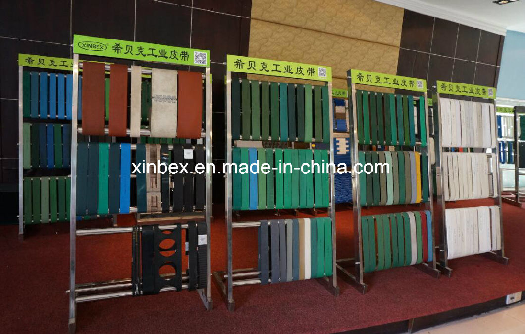 V-Guides PU/PVC Food Processing White/Green Inlined Conveyor Belt