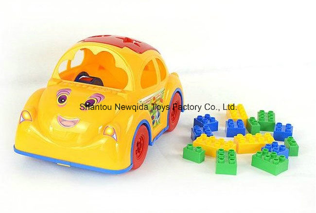 New Police Car Cartoon Block Toy for Preschool Children