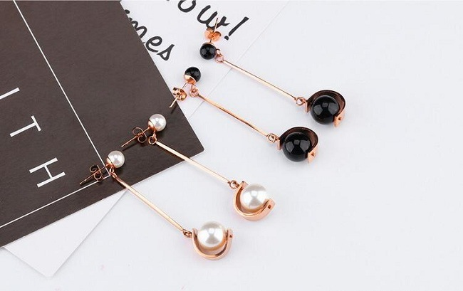 Top Quality White/Black Imitation Pearl Earrings 50mm Long Rose Gold Color Drop Earrings for Women Wedding Jewelry Girl Gifts