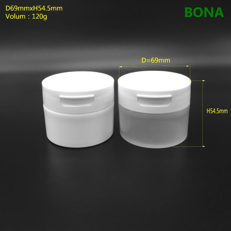 120g White Plastic Cosmetic Jar with Flip Top Cap