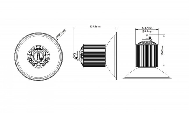 5 Year Warranty 150W LED High Bay Light High Lumen Meanwell Driver
