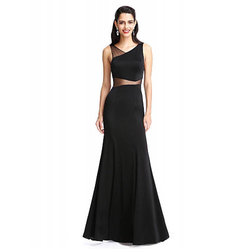 Sheath Column V-Neck Floor-Length Jersey Evening Dress