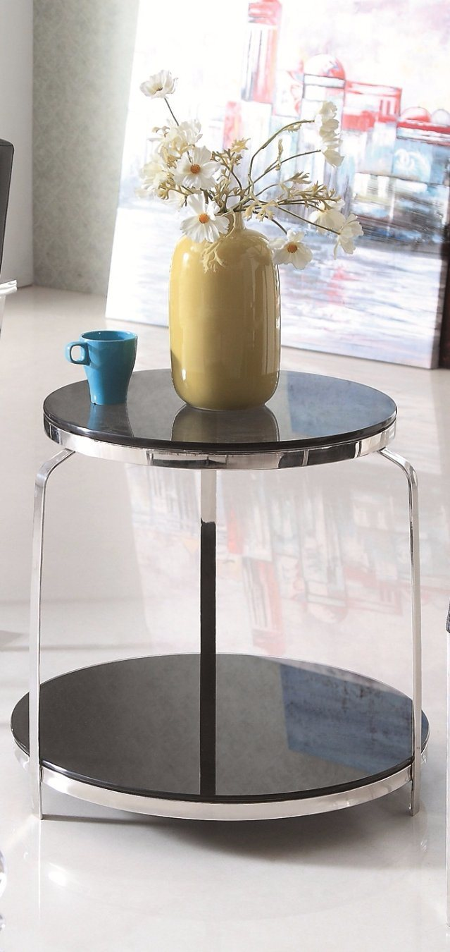 Stainless Steel Glass Top Side End Coffee Table (CJ-162)