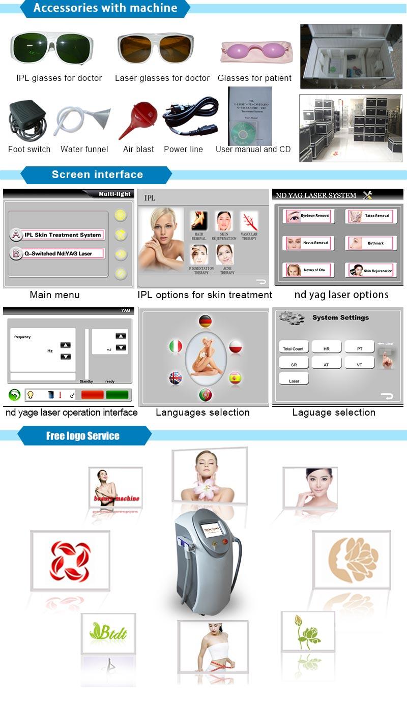 IPL + Q Switch ND YAG Laser Skin Whiten Machine