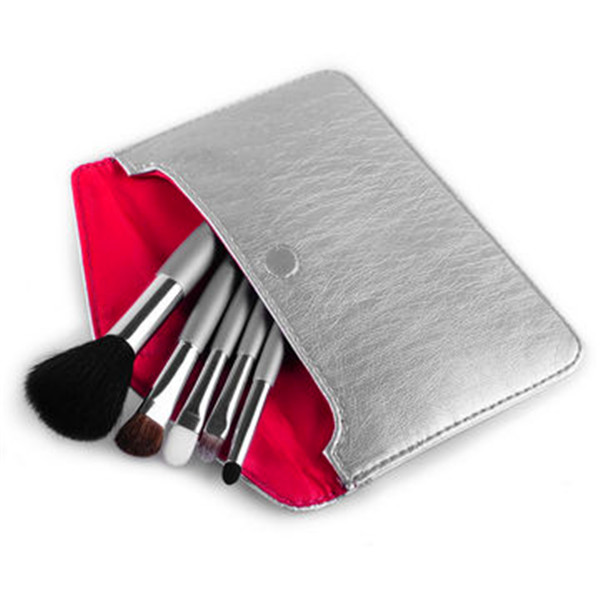 5PCS Portable Makeup Brush Set with Silver Envelope Package