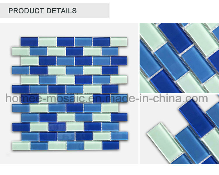 Blue Color Rectangle Shape Brick Tile Swimming Pool Mosaic Tile
