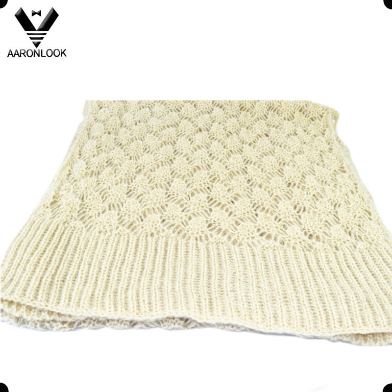 Women Cream Color Soft Crochet Knit Winter Scarf