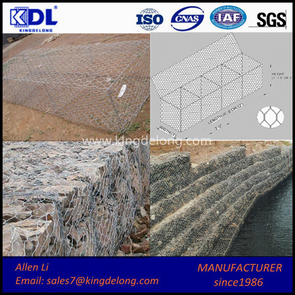 China Factory Galvanized Hexagonal Wire Mesh / Gabion Cage