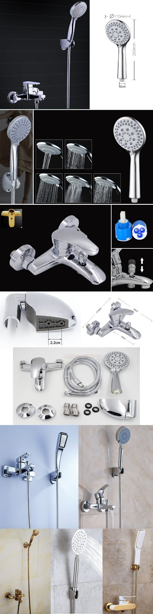 2018 Hotsale Shower Set with Negatve Ion Shower Head, Shower Faucet, SS304 Hose and Wall Mount Bracket