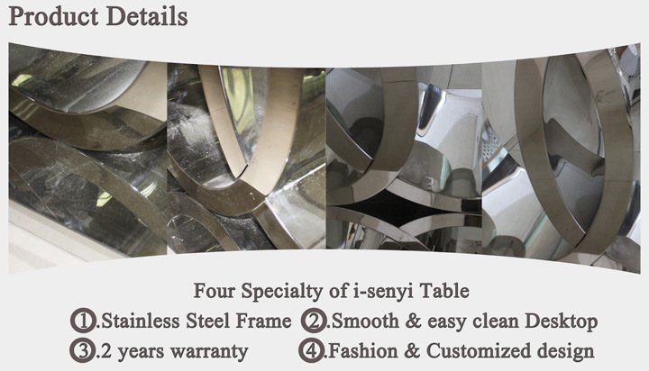 Modern Audi Marble Top/Tempered Glass Top Stainless Steel Dining Table