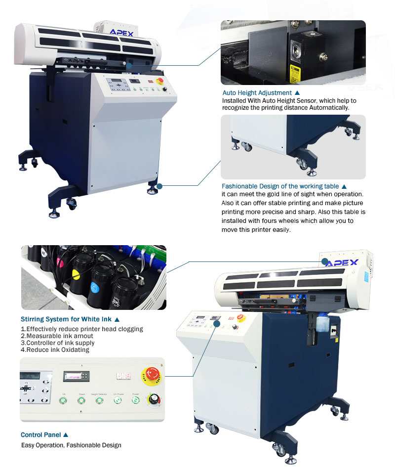 Upgrade UV Flatbed Printer with Moveable Stand, Factory Price with training