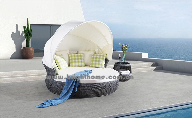 Grey Color PE Rattan Wicker Outdoor Lounge Bp-6010