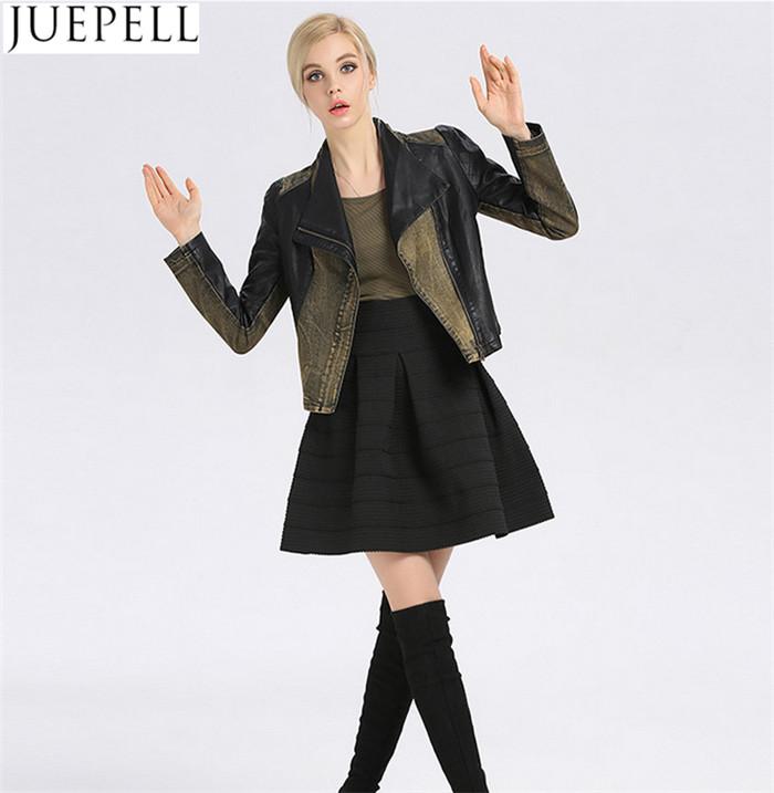 New Collar Korean Slim Ladies PU Leather Jeans Stitching European Women PU Jacket Factory