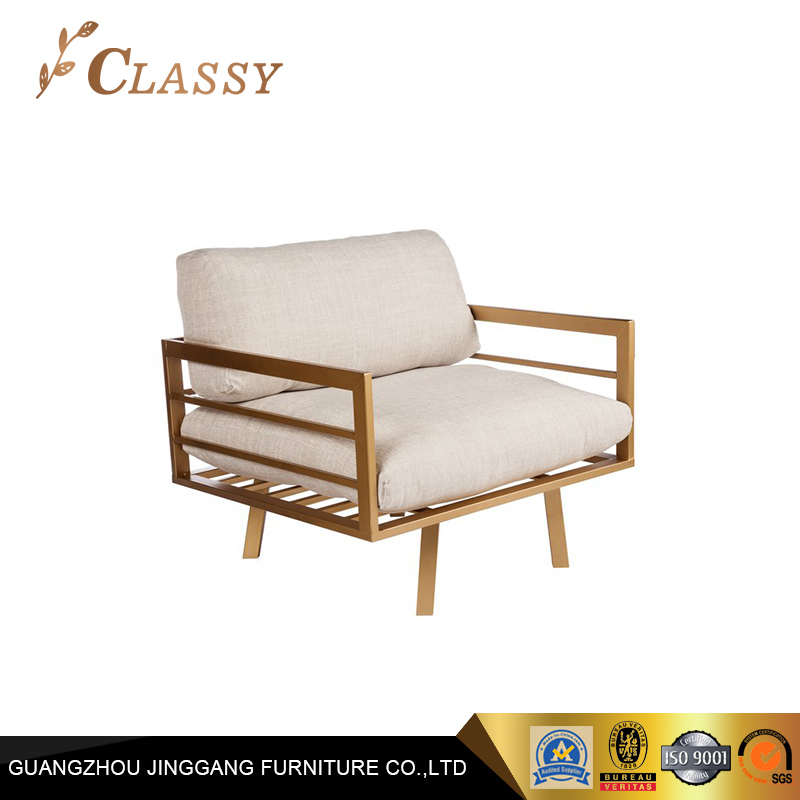 Golden Metal Frame Accent Chair with Removable Cushions